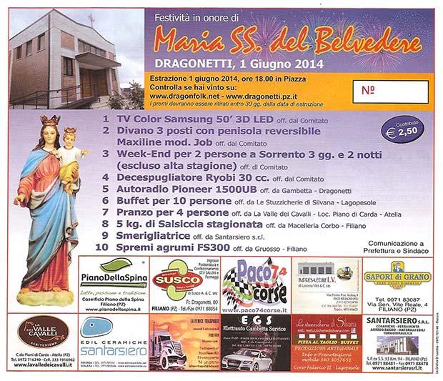 Biglietti vincenti Lotteria Festa Dragonetti 2014