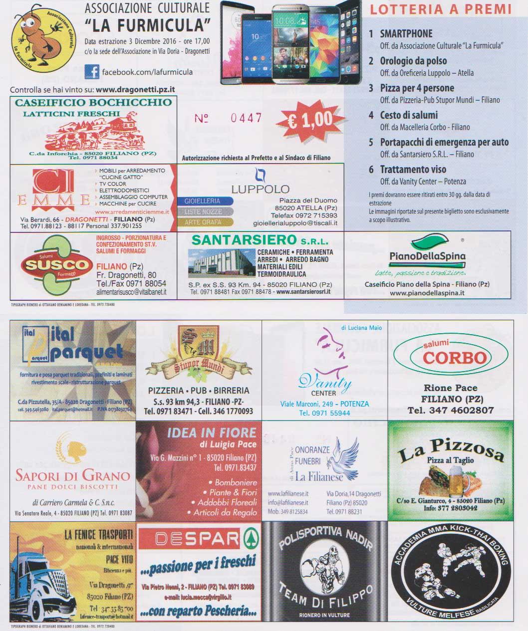 Lotteria La Furmicula 2016